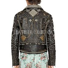 leather studded lapel jacket in black e02