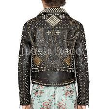 studded biker leather jacket for men e02f e02