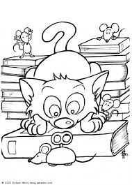 Small Picture Cat with mechanical mice coloring page Nice dog drawing for kids