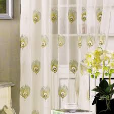 Peacock Living Room Modern Peacock Feather Curtain With White Design To Close Window