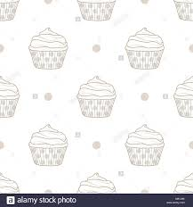Cupcakes And Dots Random On White Background Cute Hand Drawn Stock
