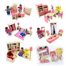 miniature wooden dollhouse furniture. Wooden Furniture Dolls House Family Miniature 6 Room Set For Kids Children Dollhouse S