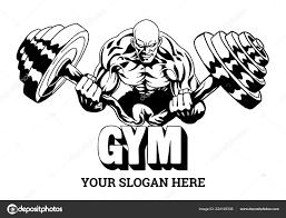 muscular bodybuilder fle heavy barbell ilration logo design stock vector