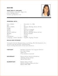 Job Resume Formate Resume Form For Job Application