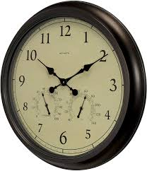 Infinity instruments 20062 decorative traditional graham large oversize 24 inch diameter quartz battery powered wall clock, with silent movement. Amazon Com Acurite 24 Inch Weathered Wall Clock With Thermometer And Hygrometer Home Kitchen