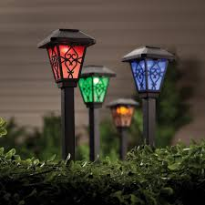 Red Solar Pathway Lights Constantly Changing Their Glow From Red To Green Blue And