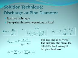 28 solution technique discharge or pipe diameter iterative technique set up simultaneous equations in excel