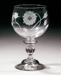 baer stem goblet decorated with engraved rose