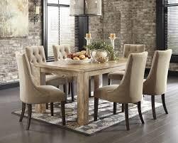 mestler bisque rectangular dining room table 6 light brown uph