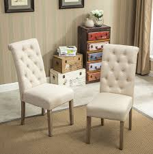 roundhill furniture habit solid wood tufted parsons dining chair set of 2 tan ca home kitchen
