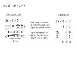 solving two step equations algebraically 2 ex