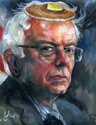 artworkbernie sanders with a pancake on his head dan lacey painting