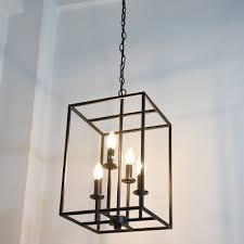 black metal chandelier. Industrial 15.7\u0027\u0027W Chandelier With Square Metal Cage In Black, 4 Light Black A