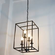 industrial 16 w chandelier with square metal cage in black 4 light takeluckhome com