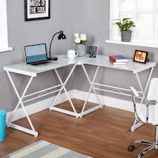 atrium metal and glass l shaped computer desk multiple colors intended for top inspirations 19