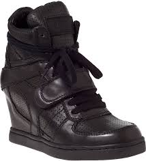ash cool wedge sneaker black leather