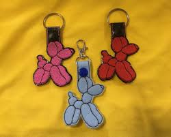 Dog Key Fob Embroidery Designs Balloon Dog Balloon Animals Key Fob In The Hoop Digital Embroidery Design