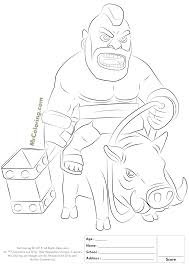 Free Printable Clash Of Clans Hog Rider Coloring Pages 1