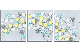 wall arts grey yellow wall art and gray painting of flowers on canvas large