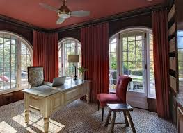 office drapes. Red Curtains Drapes For Cool Windows Design: Office Interior Completed With Covering The · «« E