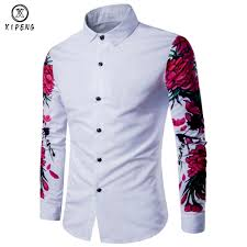 Mens Design Dress Shirts Us 14 05 26 Off 2019 New Autumn Man Shirt Pattern Design Long Sleeve Floral Flowers Print Slim Fit Men Casual Shirt Fashion Men Dress Shirts In