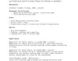 Additional Resume Skills Baby Sitter Cv Spectacular Babysitter Resume Objective Examples With