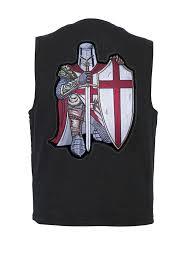mens black denim vest with red crusader biker patch
