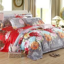 asian style bedding sets dark red sunset orange grey and aqua vintage flower print noble excellence