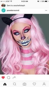 wonderland cat inspired by wig is from s eyes pink blusher as eyeshadow gold pigment nose gel liner and pink glitter mouth flash color palette