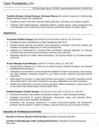 Maintenance Manager Resume Sample Facility Corporate Facilities
