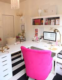 home office desk ikea. LOOOOVE This White L Desk With The Pop Of Color Chair. Shape Ikea Hack Gold And Magenta Office Decor Home S