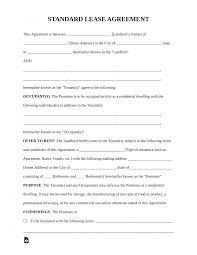 Template Free Printable Blank Lease Agreement Standard