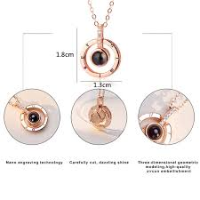 drop new rose gold silver 100 ages i love you projection pendant necklace
