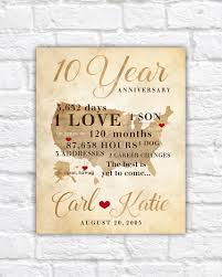 10 Year Anniversary Gift Gift For Men Women His Hers 10th