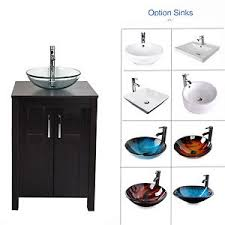 Image Is Loading BathroomVanityCabinet24034WoodTopSingle Sink Bowls On Top Of Vanity I17