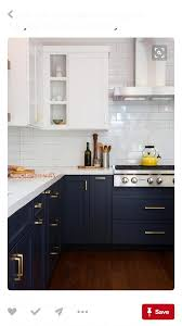 Navy Cabinets On Bottom And White Cabinets Up Top Home Decor