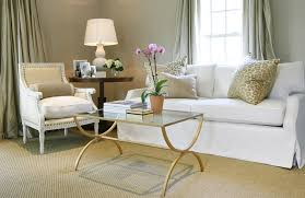 ... Gray Walls Paint Color, Seafoam Green Silk Curtains Window Panels,  White Slip Covered Sofa, Oly Studio Hanna Linen Chair, Brass Glass Cocktail  Table, ...