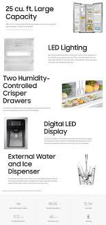 Top Ten Side By Side Refrigerators Samsung 245 Cu Ft Side By Side Refrigerator In Black Stainless