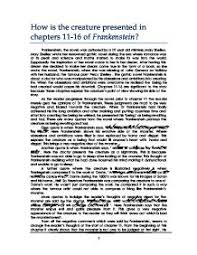frankenstein essay how does shelley present the creature between how is the creature presented in chapters 11 16 of frankenstein