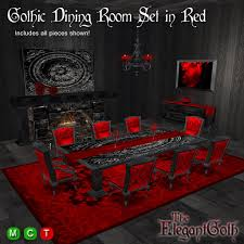 Red dining table set Black Gothic Dining Room Set In Red Gothic Furniture For The Dining Room Second Life Marketplace Second Life Marketplace Gothic Dining Room Set In Red Gothic