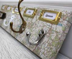 Personalised Coat Rack A fabulous vintage map covered coat hook rack with personalised name 58
