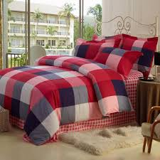 england style plaid red cotton duvet cover set of 4 piece