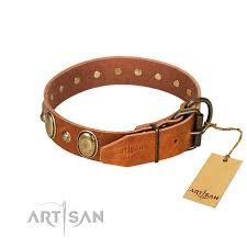 handy use full grain natural leather dog collar