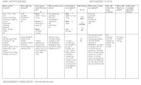 Assessment Example Example of a Location Risk Assessment sheet   Health and safety ...