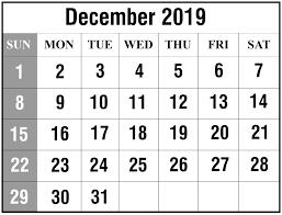 Free Blank December 2019 Calendar Printable In Pdf Word