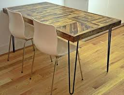 handmade wooden pallet kitchen dining table with metal hairpin legs.  Advertisements