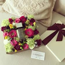 box with flowers and a bottle of your favorite perfume
