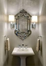 powder room lighting. Metallic Snakeskin Wallpaper And Crystal Sconce Lighting Powder Room