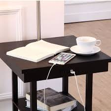 Floor Tables 2 In1 Modern Side Table Floor Lamp With White Shade And Usb Ports