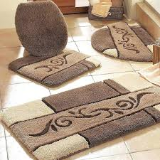 brown and blue bathroom rugs
